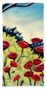 Red Poppies Under A Blue Sky Beach Towel