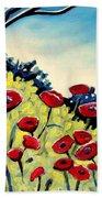 Red Poppies Under A Blue Sky Beach Sheet