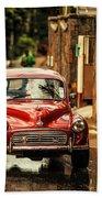 Red Retromobile. Morris Minor Beach Towel