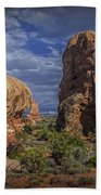 Red Rock Formations On A Desert Plateau In Utah Beach Towel