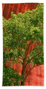 Red Rock Green Tree Beach Towel