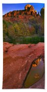 Red Rock Reflection Beach Towel by Mike  Dawson