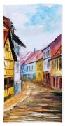Red Roof - Palette Knife Oil Painting On Canvas By Leonid Afremov Beach Towel