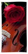 Red Rose With Violin Beach Towel by Garry Gay