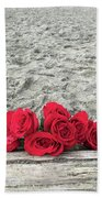 Red Roses Beachside Beach Towel