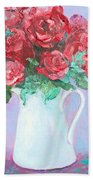 Red Roses In White Jug Beach Towel by Jan Matson