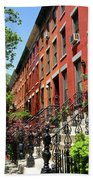 Red Row Houses Beach Towel