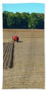 Red Shirt Red Tractor  Beach Towel