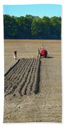 Red Shirt Red Tractor Two  Beach Towel