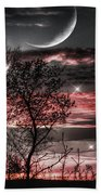 Red Sky Moon Beach Towel