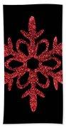 Red Snowflake Ornament Beach Towel