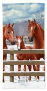 Red Sorrel Quarter Horses In Snow Beach Sheet by Crista Forest