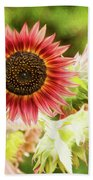Red Sunflower, Provence, France Beach Towel