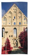 Red Surreal Abbey Ruins Beach Towel