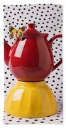 Red Teapot With Butterfly Beach Towel