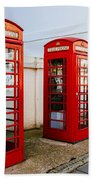 Red Telephone Booths London Beach Towel