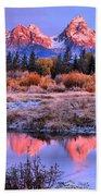 Red Tip Teton Reflection Panorama Beach Towel