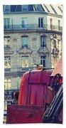 Red Truck In Paris Street Beach Towel