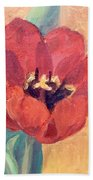 Red Tulip Beach Towel