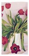 Red Tulips In Full Bloom Beach Towel