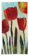 Red Tulips Beach Towel