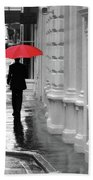 Red Umbrella In London Beach Towel