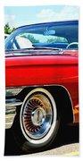 Red Vintage Cadillac Beach Towel