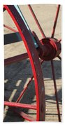 Red Waggon Wheel Beach Towel