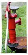 Red Water Pump Beach Towel