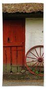 Red Wheel And Barn In Sweden Beach Towel