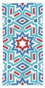 Red White And Blue Fireworks Pattern- Art By Linda Woods Beach Towel