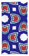 Red White And Blue Tulips Pattern- Art By Linda Woods Beach Towel