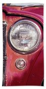 Red Willys Jeep Truck Beach Towel