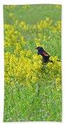 Red-winged Blackbird In Wild Mustard Beach Towel