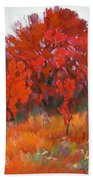 Red Woods Painting Beach Towel