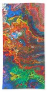 Red Yellow Blue Abstract Beach Towel