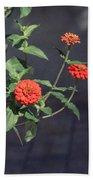 Red Zinnia Flowers Beach Towel