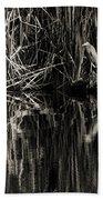 Reeds And Heron Beach Towel