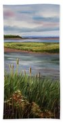 Reeds By The Water Beach Towel