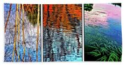 Reflecting On Autumn - Triptych Beach Towel