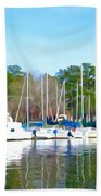 Reflecting The Masts - Watercolor Style Beach Towel