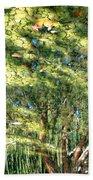 Reflecting Trees On Quiet Pond Beach Towel