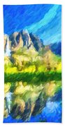 Reflection In Merced River Of Yosemite Waterfalls Beach Towel