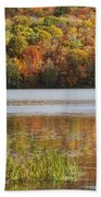 Reflection Of Autumn Colors In A Lake Beach Towel