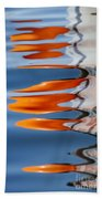 Water Reflection Of Orange Blobs And Black Zig Zagging Lines Beach Towel