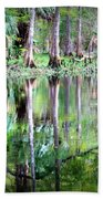Reflection Of Cypress Trees Beach Towel
