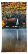 Reflection Of Little White Church With Fall Foliage Beach Towel
