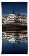 Reflections From The Duke Of Lancaster Ship  Beach Towel