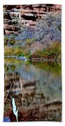 Reflections In Desert River Canyon Beach Towel