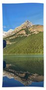 Reflections In The Water At Lake Louise, Canada Beach Towel
